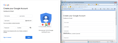 Screenshot comparing Gmail signup screen on Chrome and IE8