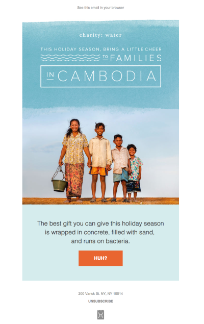 A simple yet engaging email design by Charity: Water.