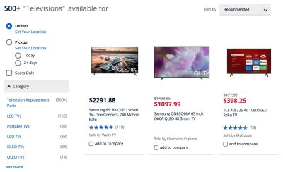 What's the comfortable range when choosing a TV? Probably not 500 options, but rather 5–10 good ones. That's where filters matter.