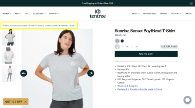 """Tentree e-commerce product page with breadcrumbs pointing back to """"Sustainable Women's T-Shirts & Tanks"""" category"""