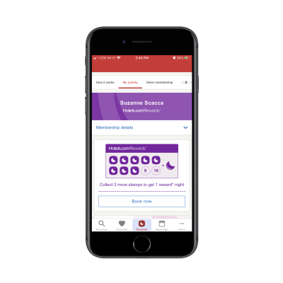 """Hotels.com mobile app """"Rewards"""" tab with hotel night stamps"""