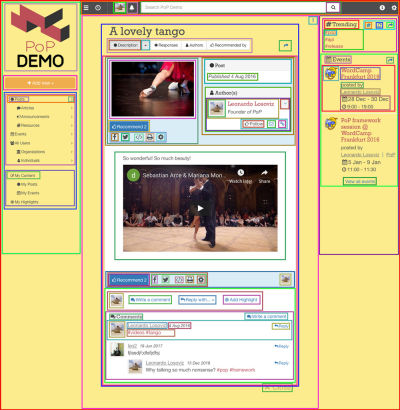 Screenshot of a component-based webpage