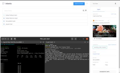Testing the request-meal intent through the Dialogflow console emulator.