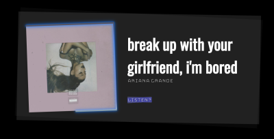 """An image depicting the final product of the tutorial. Contains the information for the song """"Break up with your girlfriend, I'm bored"""" by Ariana Grande with a link to the song on Spotify, and a photo of the album cover"""