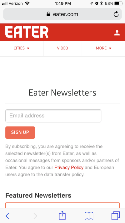 Eater subscription form
