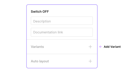 Part of the design sidebar panel showing the position of the button to add variants.
