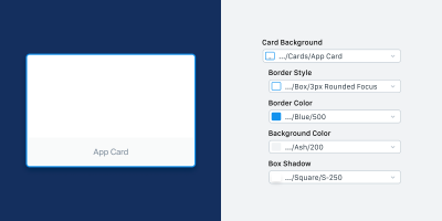 A side-by-side image of a component and it's available overrides in Sketch