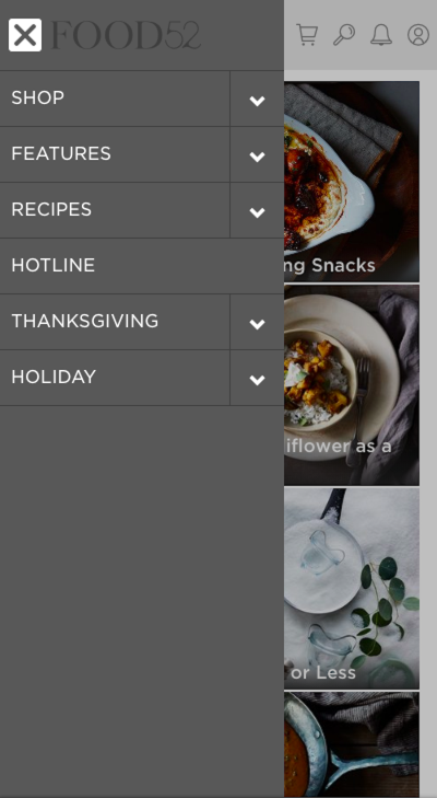 Simplified mobile navigation from Food52