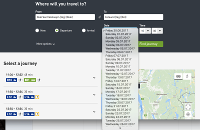 date picker for travel site