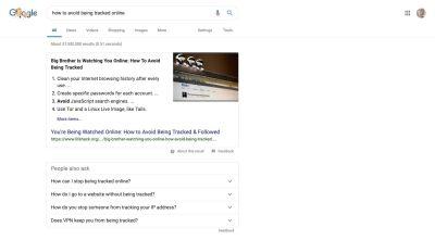 A sample Google search