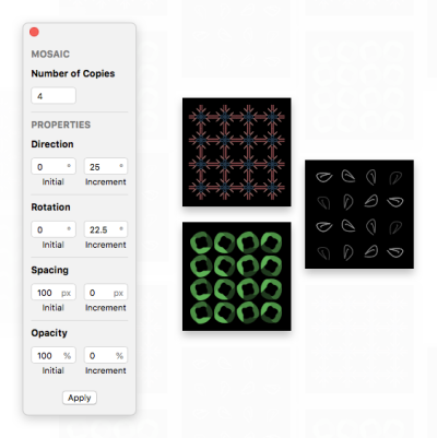 Image showing the Mosaic plugin's UI, and a few example patterns.