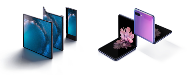 A picture of the Huawei Mate X and Samsung Galaxy Z Flip