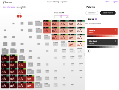 Geenes accessibility color comparison page where a red spectrum is compared to a gray spectrum.