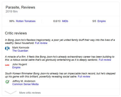 Review snippets using structured data markup on Google Search