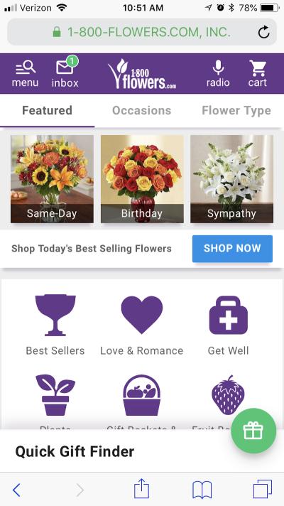 1-800-Flowers inbox notification