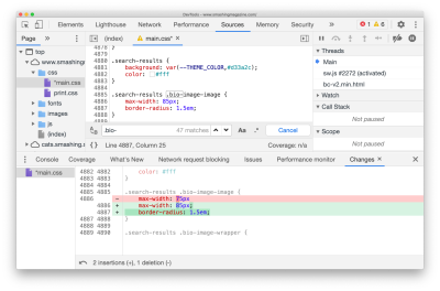 """No need to keep track of your changes: Devtools does it for you, with the """"Changes"""" pane."""