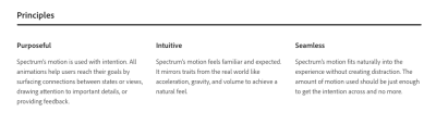 Spectrum's motion principles of purposeful, intuitive and seamless