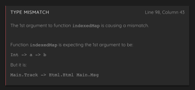 The compiler raises another error because we're passing the wrong type to renderTrack.