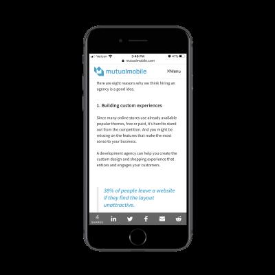 Mutual Mobile blog with social share