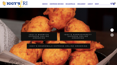 IGGY'S website with picture of clamcakes and 3 options for online ordering