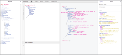 GraphiQL playground generated by Gatsby for testing and introspecting the Gatsby generated schema.