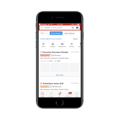 Yelp app search filters
