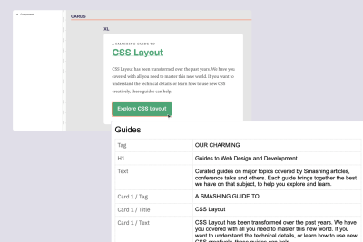 A screenshot of a Components page in Figma, showing the name of an element and a screenshot of a copy doc with a corresponding element name that match