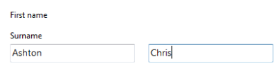 Screenshot of first name label, surname label, and then two empty input fields, no clear visual hierarchy