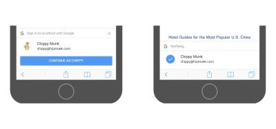 Google's one-tap sign-up dialog