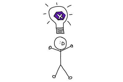 Drawing of stick figure with the idea to develop for both platforms at once using Xamarin