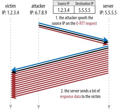 0-RTT amplification attack on the victim.