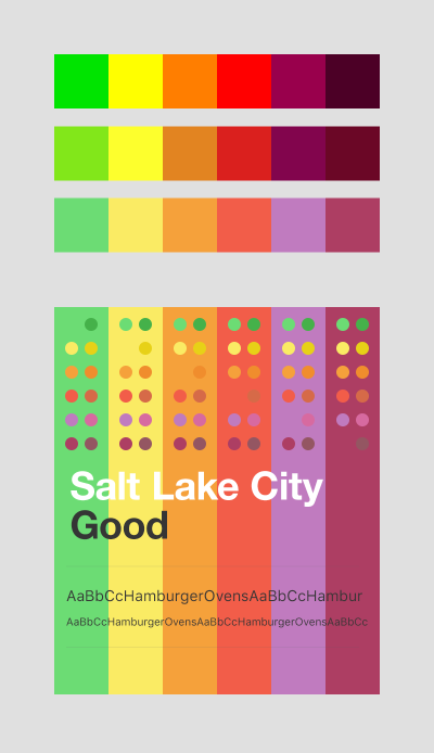 This shows the Photoshop test file I used to adjust the different color states, based on the air quality, for Air Lookout.