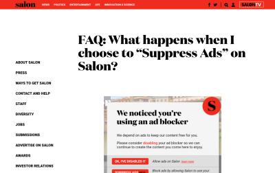 Screenshot of Salon.com FAQ page