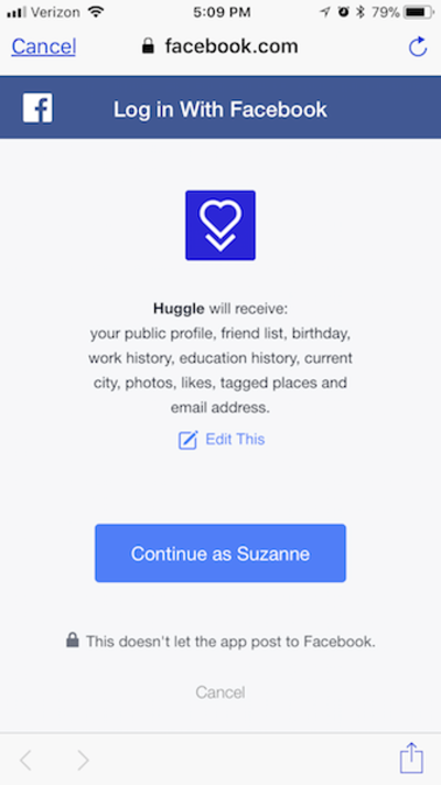 Huggle enables Facebook login.
