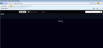 Screenshot of BBC iPlayer - just a black screen