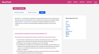 BuzzFeed Legal page: Privacy Policy, User Agreement, DMCA (for users in Mexico)