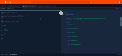 GraphQL playground for testing the generated Headless CMS GraphQL API.