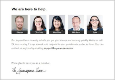 Squarespace doesn't leave you once they've gotten you to buy. They send you an email showing off their 24/7 support and how they're going to make you awesome.