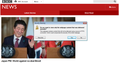"""Screenshot of BBC homepage with """"Security Warning"""" browser popup"""