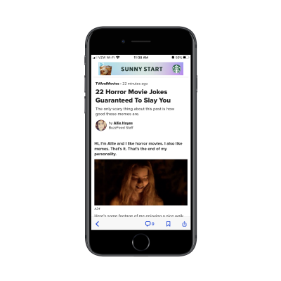 BuzzFeed mobile app includes author icon at top of post