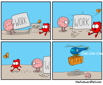 A comic from 'The Awkward Yeti' titled 'Work/Play balance'.