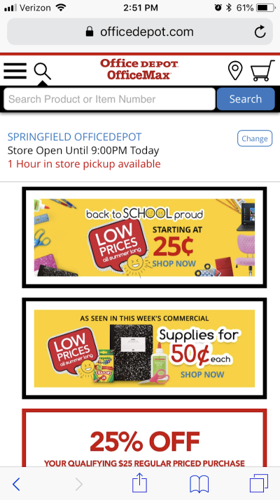 Office Depot includes time-driven design elements
