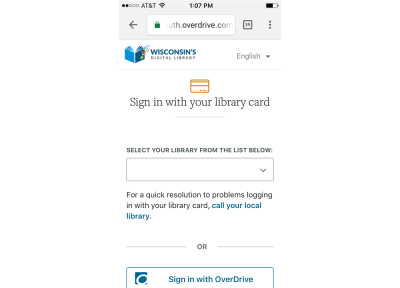 A screenshot of signing into Wisconsin's digital library