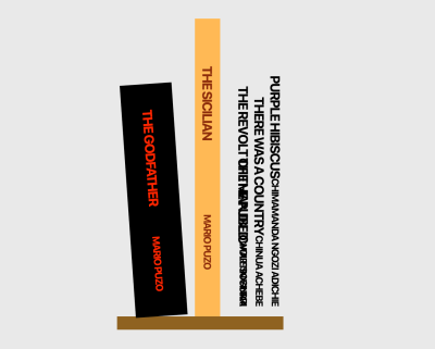 A screenshot of the change to the demo Bookshelf after styling the first and second book with SASS