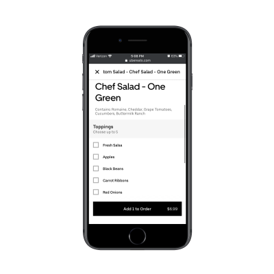 """Uber Eats """"Add to Order"""" button"""