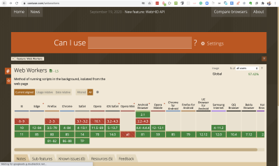 Showing browser support chart for web workers