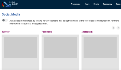 Screengrab of eu2020.de showing social feed content blocked until third-party tracking is switched on
