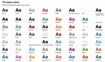 An overview of colors used, printed by declaration order in source code.