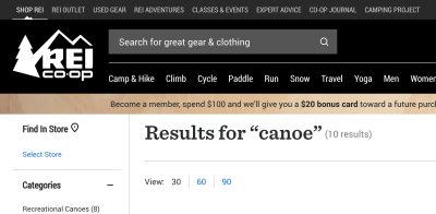 The search bar on the REI Co-op website