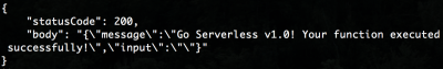 The return response from invoking our brand new serverless function.
